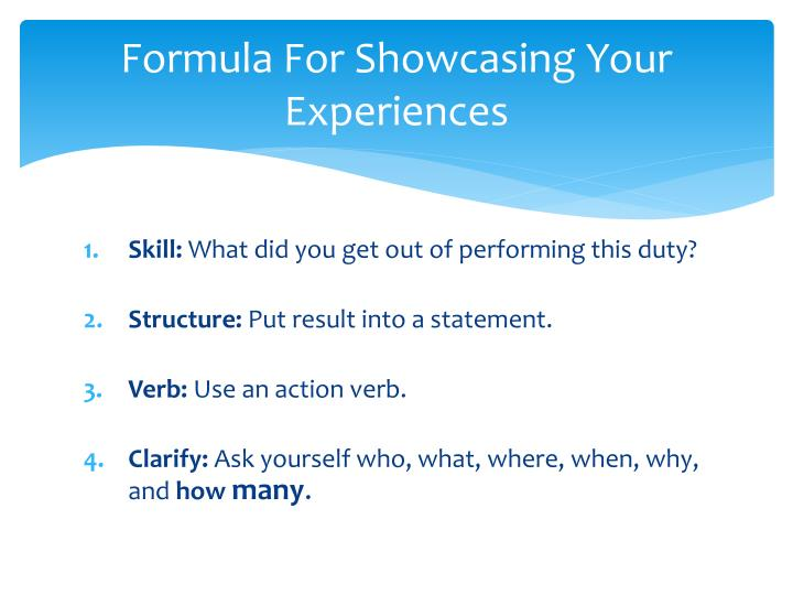 Formula For Showcasing Your Experiences