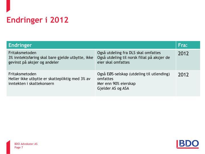 Endringer i 2012