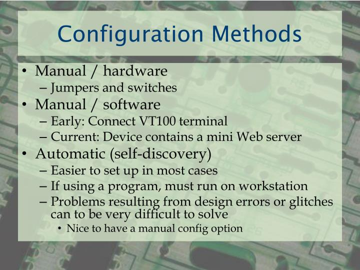 Configuration Methods