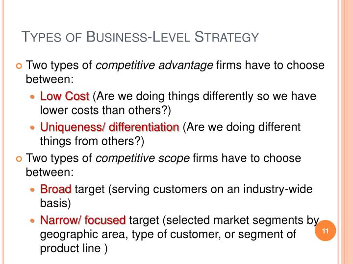 types of business strategies Company business strategy explains how a firm differentiates itself from competitors, how it generates  notice that the definition names four kinds of actions.