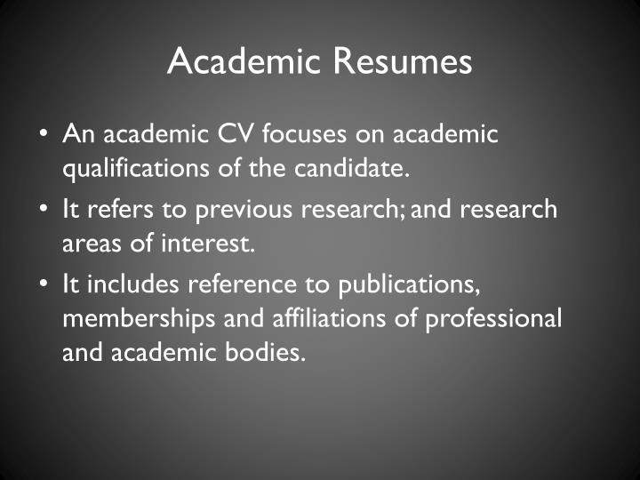 Academic Resumes