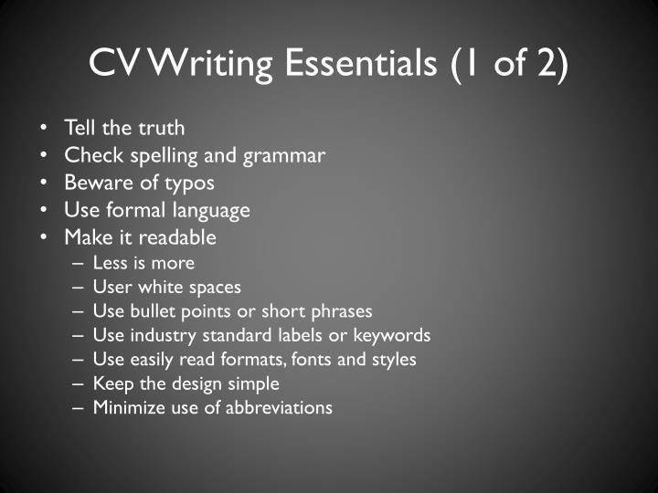 CV Writing Essentials (1 of 2)