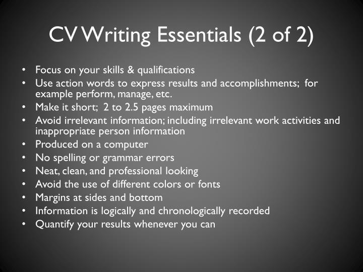 CV Writing Essentials (2 of 2)