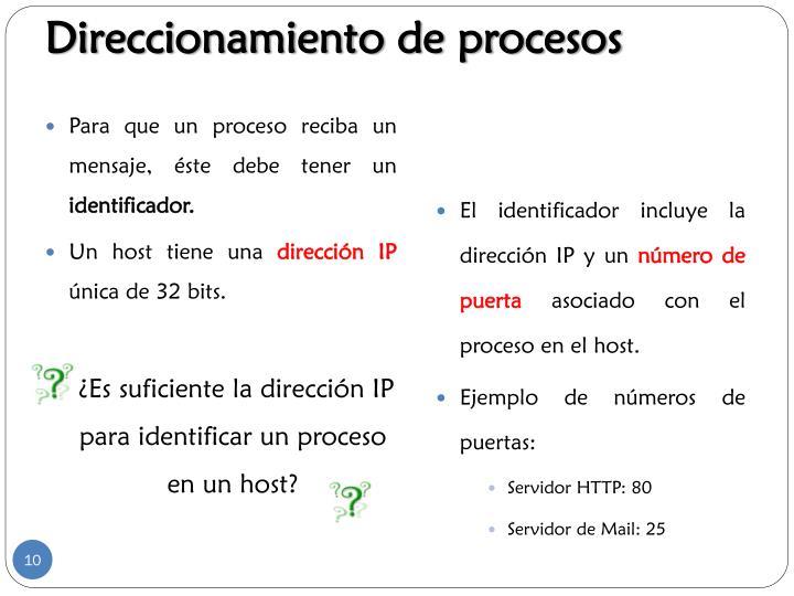 Direccionamiento de procesos