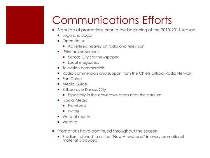 Communications Efforts