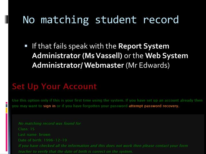 No matching student record