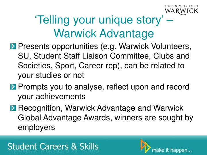 'Telling your unique story' – Warwick Advantage
