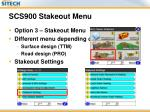 scs900 stakeout menu