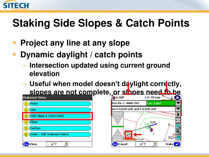 Staking Side Slopes & Catch Points