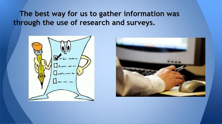 gathering information and writing a research In the past door-to-door or phone interviewers were often instructed to fill out some information other data-gathering research subjects are not.