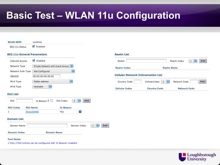 Basic Test – WLAN 11u Configuration