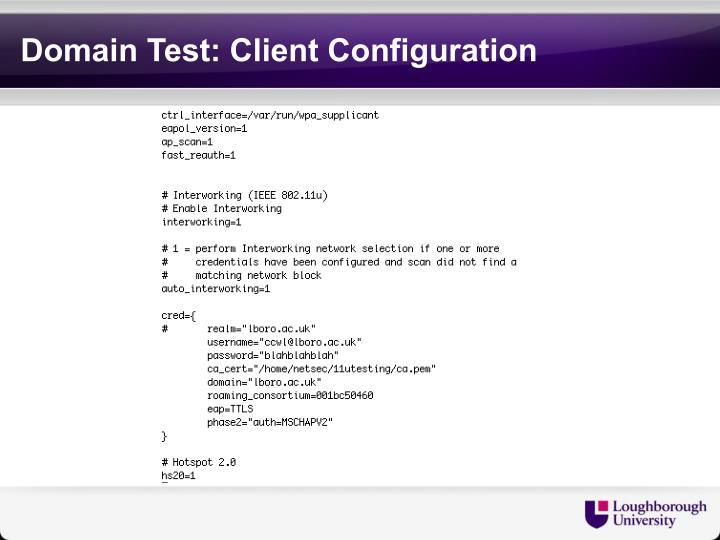 Domain Test: Client Configuration