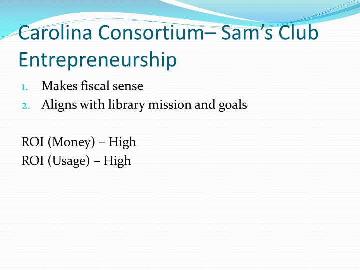Carolina Consortium– Sam's Club Entrepreneurship