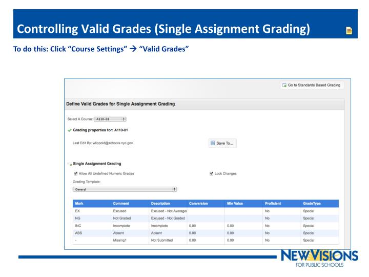 Controlling Valid Grades (Single Assignment Gradin