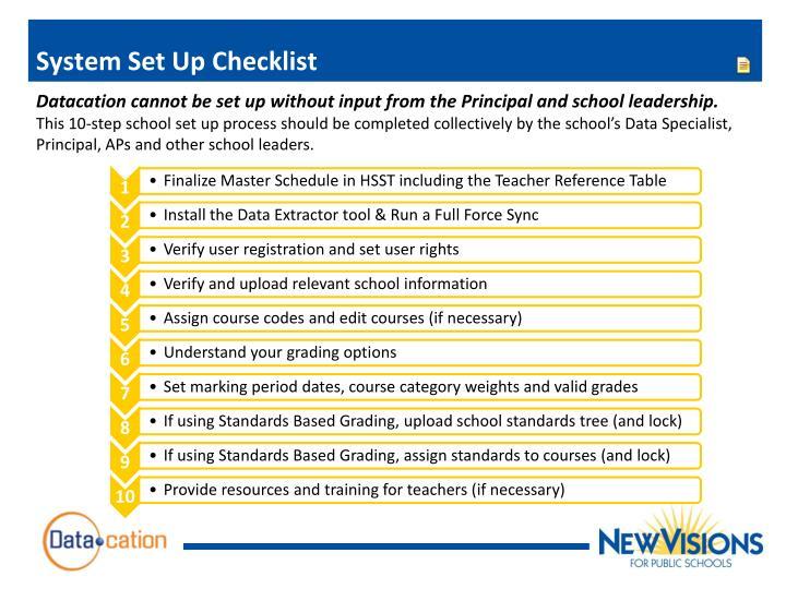System Set Up Checklist
