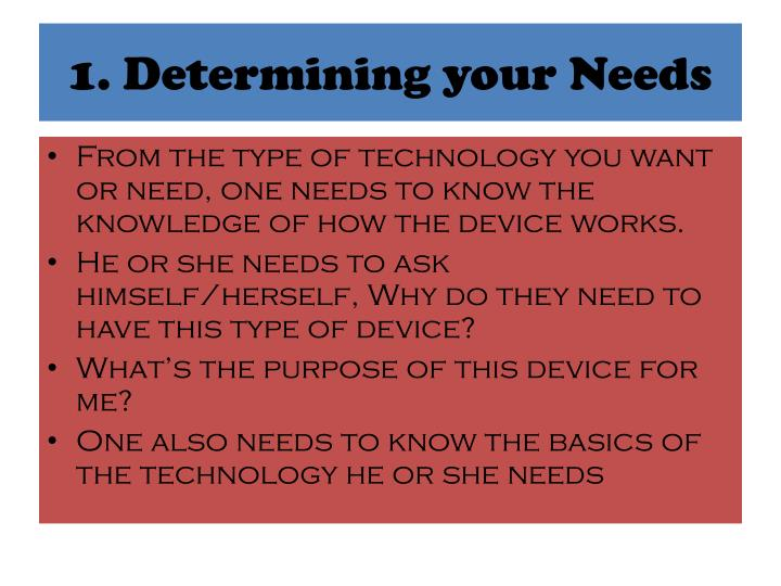 1. Determining your Needs