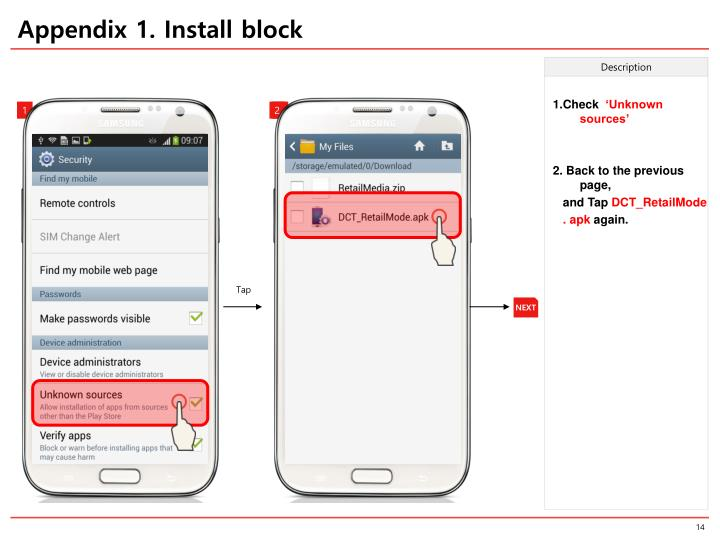 Appendix 1. Install block