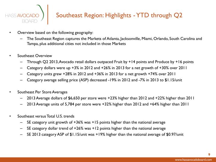 Southeast Region: Highlights - YTD through Q2