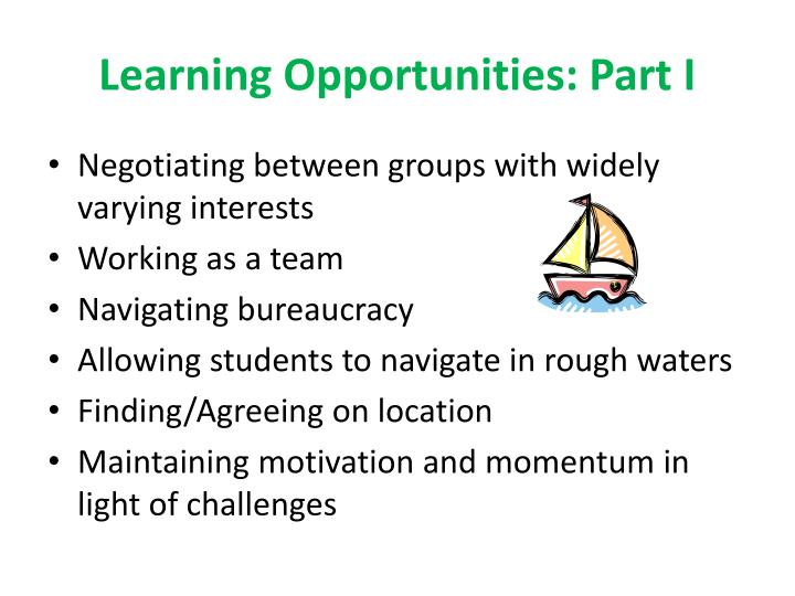 Learning Opportunities: Part I