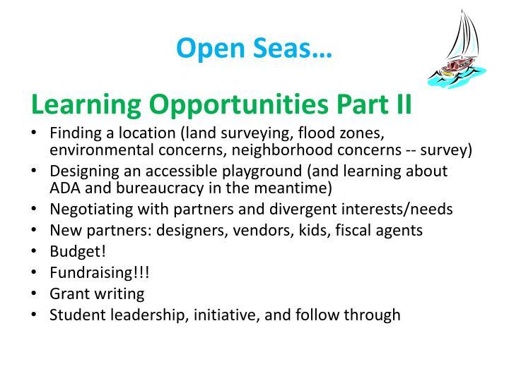 Open Seas…