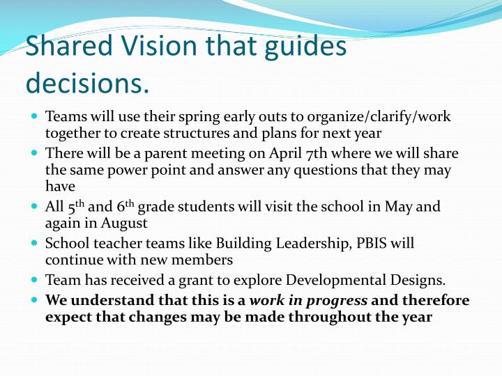 Shared Vision that guides decisions.