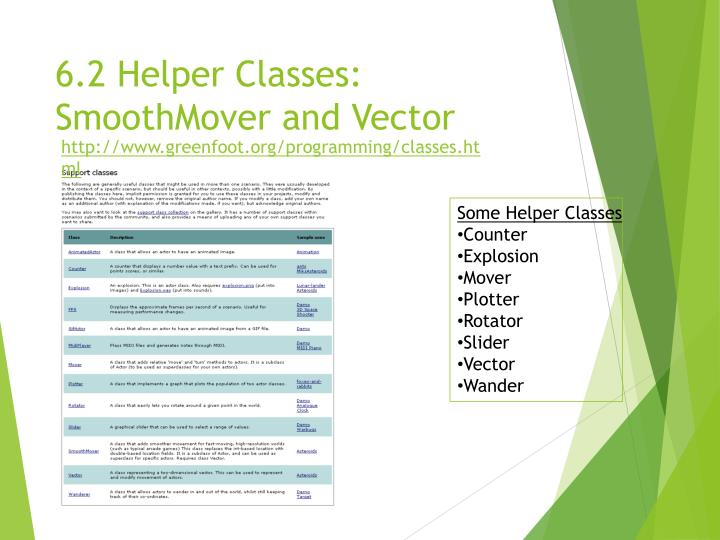 6.2 Helper Classes: