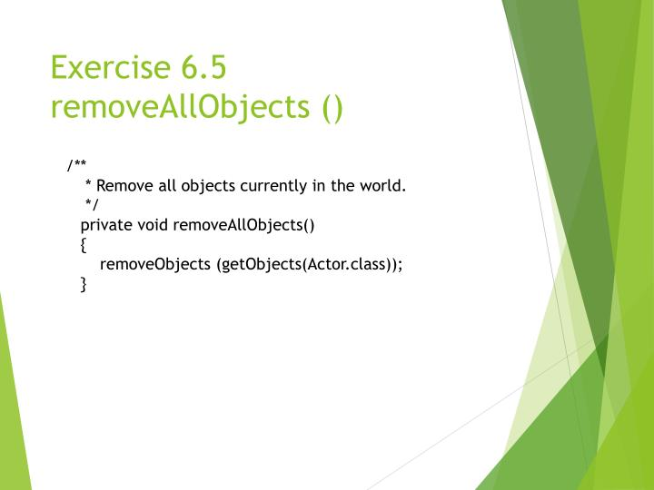 Exercise 6.5 removeAllObjects ()