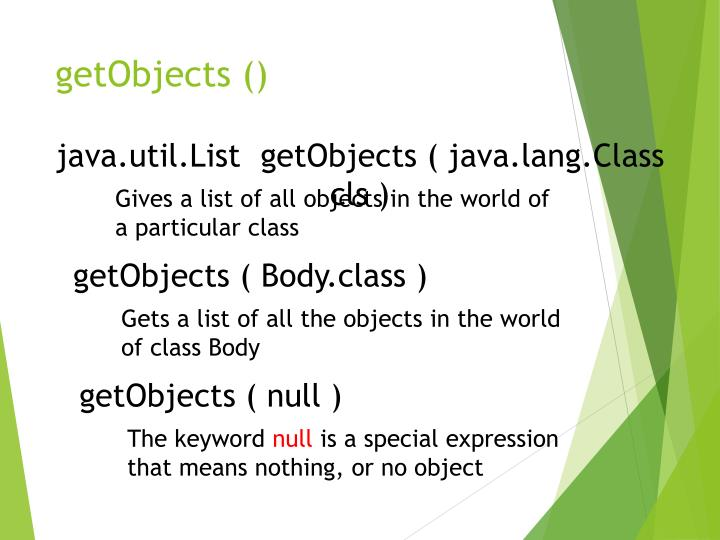 getObjects ()