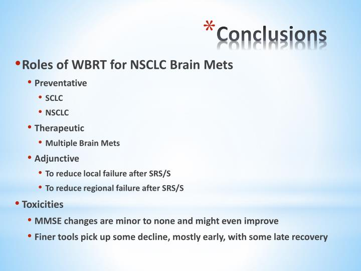 Roles of WBRT for NSCLC Brain Mets