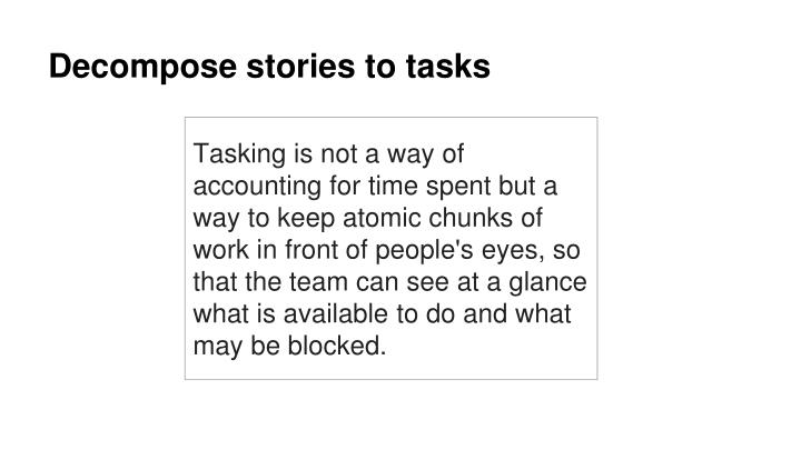 Decompose stories to tasks