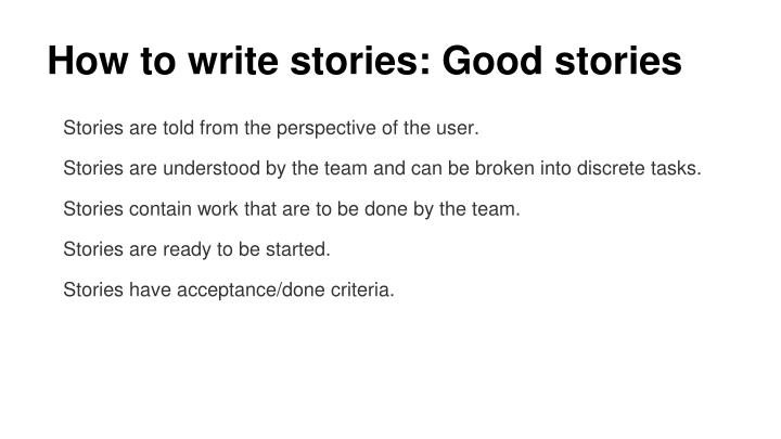 How to write stories: Good stories