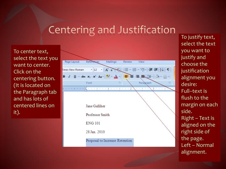 Centering and Justification