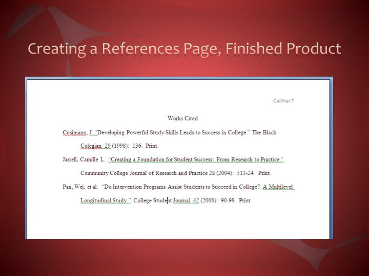 Creating a References Page, Finished Product