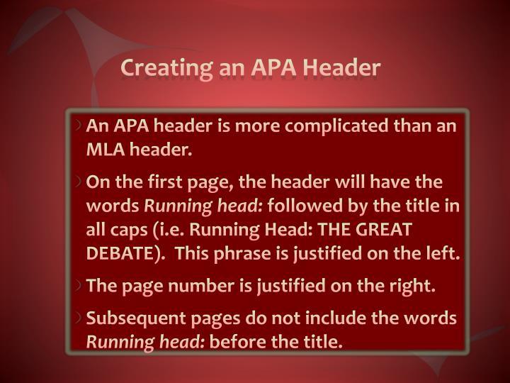 Creating an APA Header