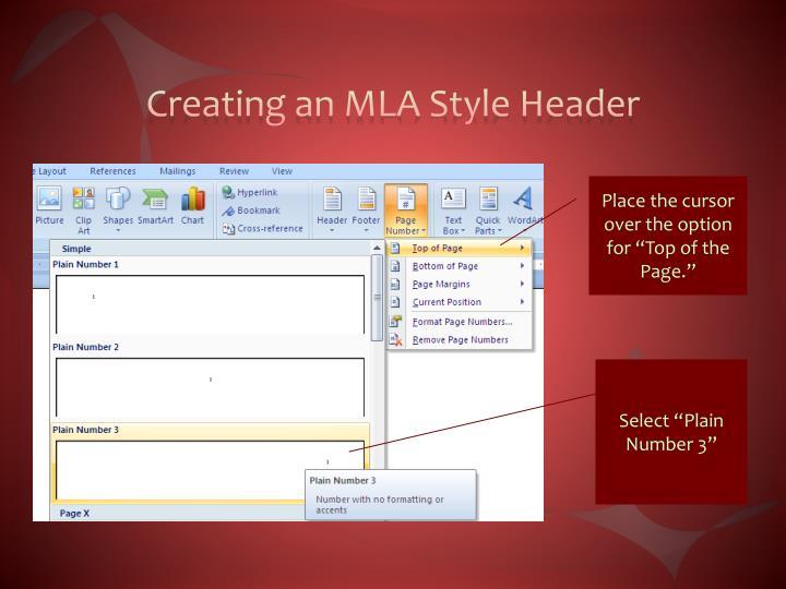 Creating an MLA Style Header