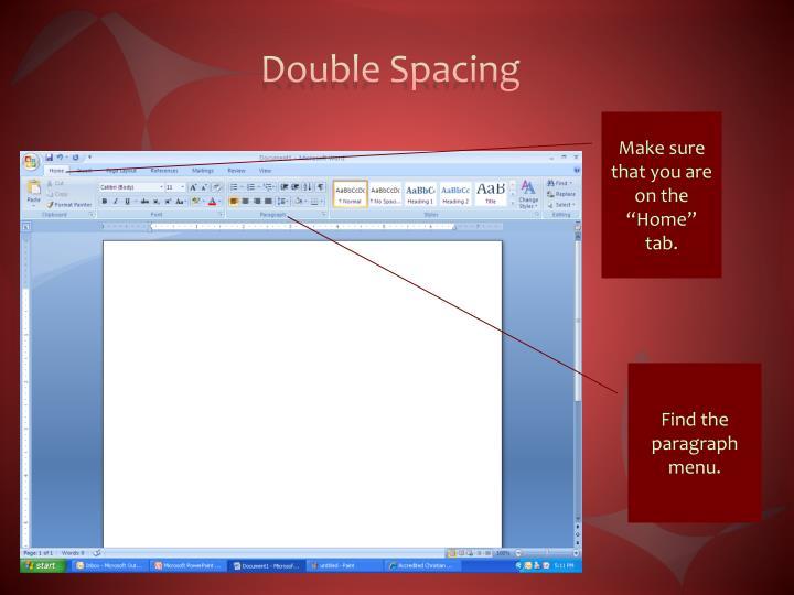 Double Spacing