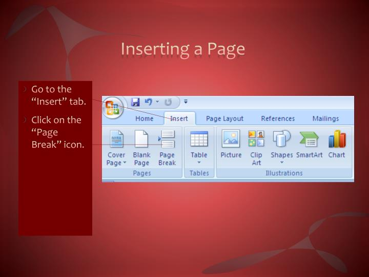 Inserting a Page