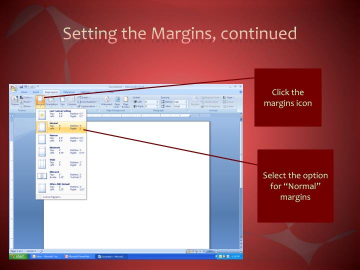 Setting the Margins, continued