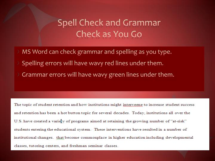 Spell Check and Grammar Check as You Go