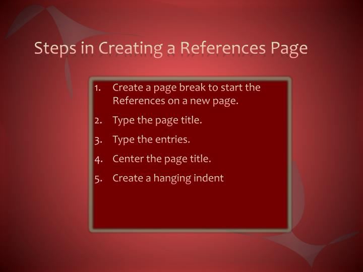 Steps in Creating a References Page