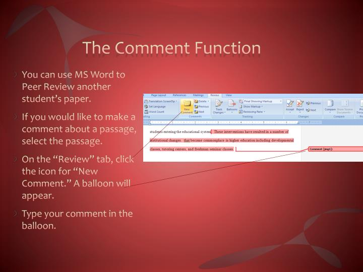 The Comment Function