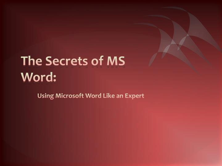 the secrets of ms word