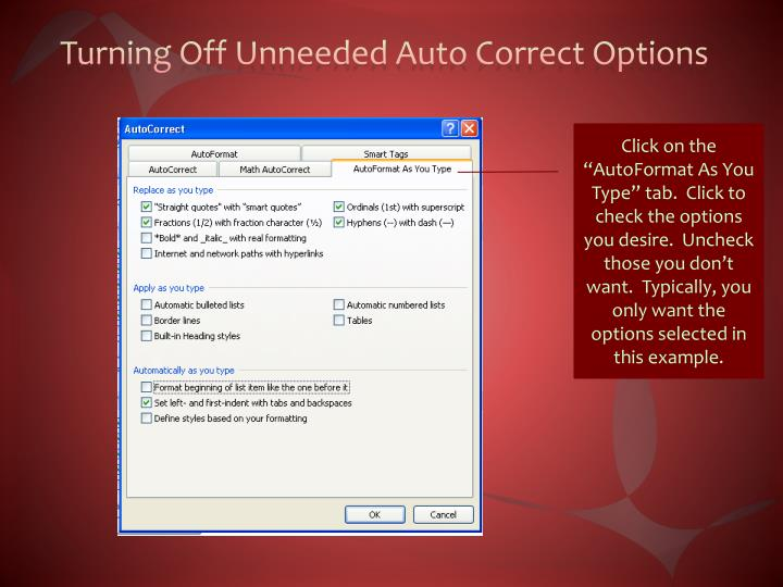 Turning Off Unneeded Auto Correct Options