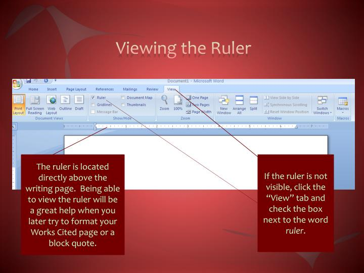 Viewing the Ruler