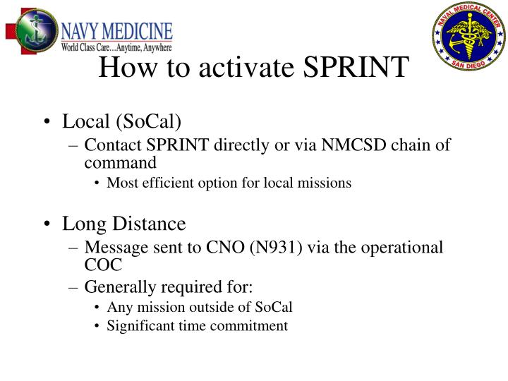 How to activate SPRINT