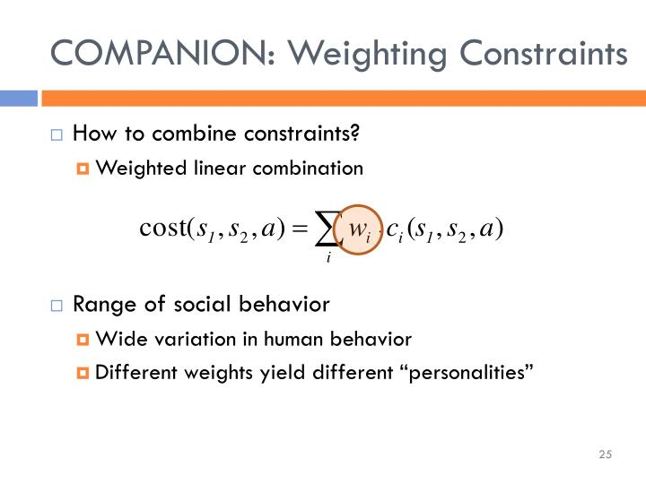 COMPANION: Weighting Constraints