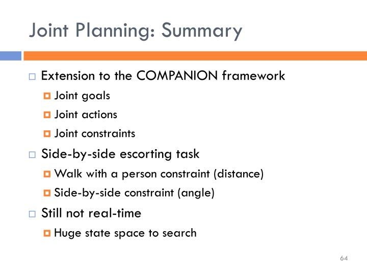 Joint Planning: Summary