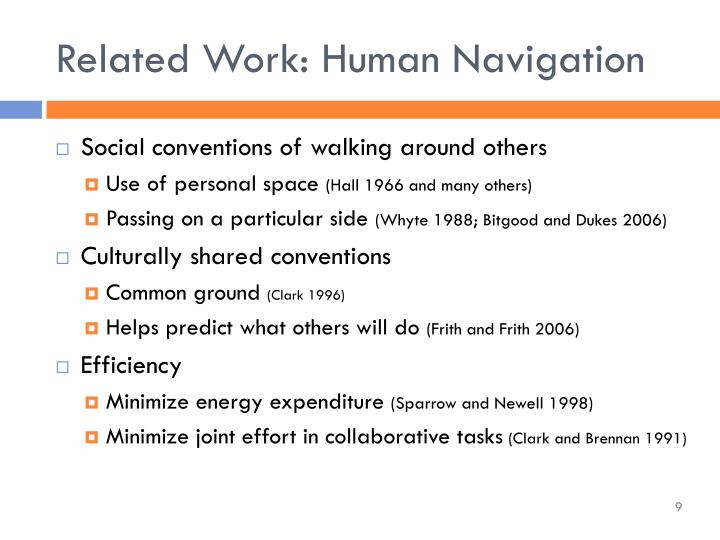 Related Work: Human Navigation