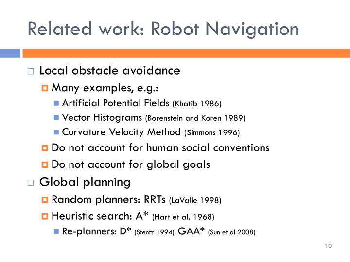 Related work: Robot Navigation