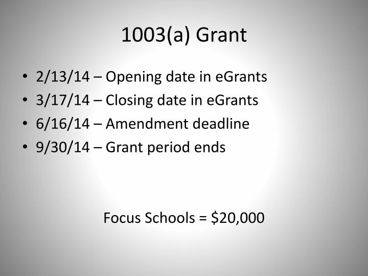 1003(a) Grant